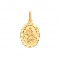 """9ct Gold """"Protect Us"""" Oval St. Christopher Pendant"""