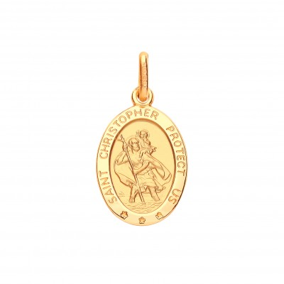 "9ct Gold ""Protect Us"" Oval St. Christopher Pendant"