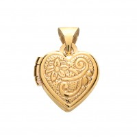 9ct Gold Patterned Heart Locket 0.63gms