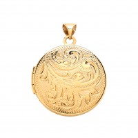 9ct Gold Patterned Round Locket