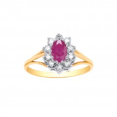 9ct Gold Ruby and White Cubic Zirconia Cluster Ring