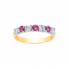 9ct Gold Ruby and White Cubic Zirconia Eternity Ring