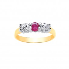 9ct Gold Ruby and White Cubic Zirconia Ring