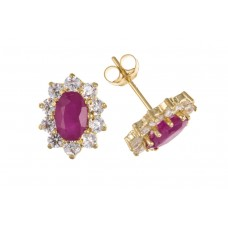 9ct Gold Ruby and White Cubic Zirconia Stud Earrings