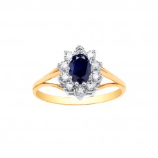 9ct Gold Sapphire and White Cubic Zirconia Cluster Ring