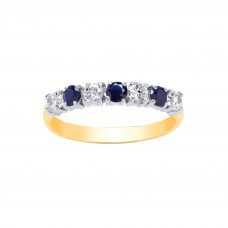 9ct Gold Sapphire and White Cubic Zirconia Eternity Ring