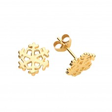 9ct Gold Snowflake Stud Earrings