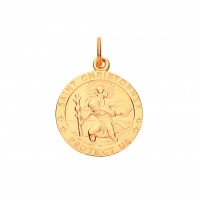 """9ct Gold """"Protect Us"""" St. Christopher Pendant"""