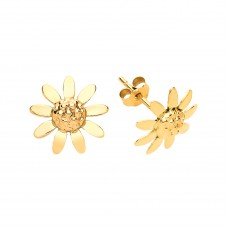 9ct Gold Sunflower Stud Earrings