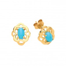 9ct Gold Turquoise Stud Earrings