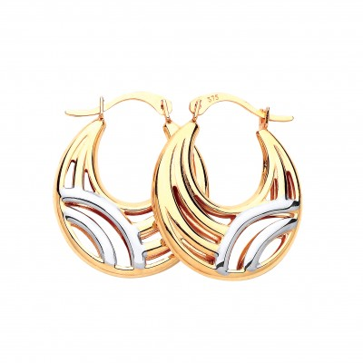 9ct Two Colour Gold Round Creole Earrings
