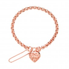 9ct Rose Gold Belcher Bracelet with Padlock and Safety Chain
