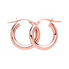 9ct Rose Gold 15mm Round Creole Earrings