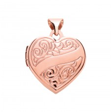 9ct Rose Gold Patterned Heart Locket
