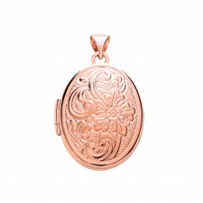 9ct Rose Gold Patterned Oval Locket