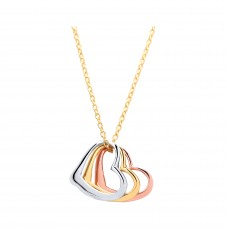 "9ct Three Colour Gold 3 Hearts Pendant and 17"" Trace Chain"
