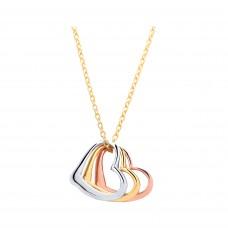 "9ct Three Colour Gold 3 Hearts Pendant and 17"" Trace Chain"