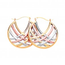 9ct Three Colour Gold Creole Earrings