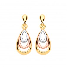 9ct Three Colour Gold Drop Earrings