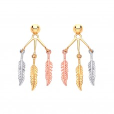 9ct Three Colour Gold Feather Drop Earrings