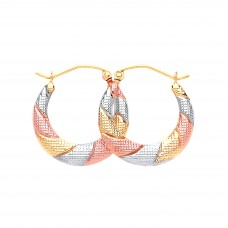 9ct Three Colour Gold Textured Creole Earrings