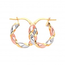 9ct Three Colour Gold Twisted Round Creole Earrings