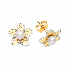 9ct Two Colour Gold Freshwater Cultured Pearl Flower Stud Earrings
