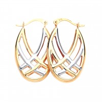 9ct Two Colour Gold Oval Creole Earrings