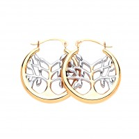 9ct Two Colour Gold Tree Of Life Creole Earrings