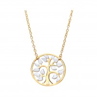 """9ct Two Colour Gold Tree Of Life Pendant and 17"""" Trace Chain"""