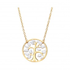 "9ct Two Colour Gold Tree Of Life Pendant and 17"" Trace Chain"
