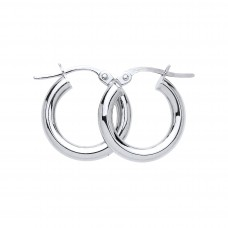 9ct White Gold 15mm Round Creole Earrings