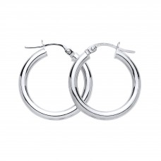 9ct White Gold 18mm Round Creole Earrings