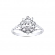 9ct White Gold White Cubic Zirconia Cluster Ring