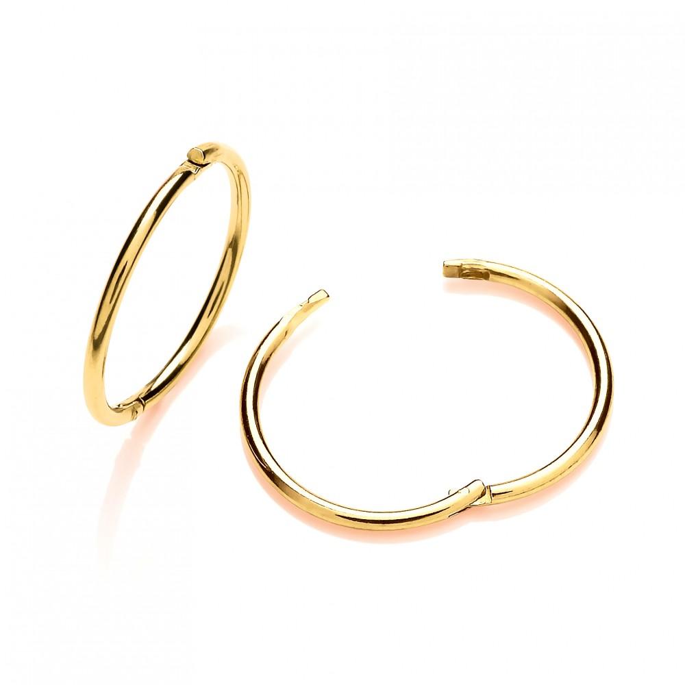 9ct Gold 12mm Hinged Sleeper Earrings Gold Earrings