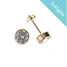 9ct Gold 4mm White Cubic Zirconia Stud Earrings 0.41gms