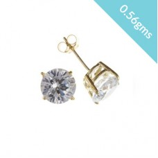 9ct Gold 4mm White Cubic Zirconia Stud Earrings 0.56gms