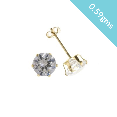 9ct Gold 5mm White Cubic Zirconia Stud Earrings 0.59gms