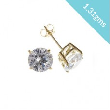 9ct Gold 6mm White Cubic Zirconia Stud Earrings 1.31gms