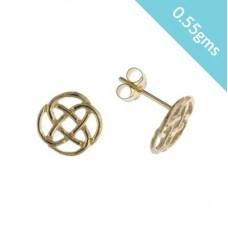 9ct Gold Celtic Design Stud Earrings 0.55gms