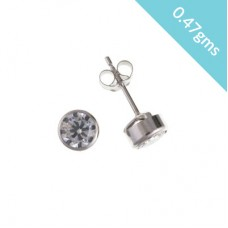 9ct White Gold 4mm White Cubic Zirconia Stud Earrings 0.47gms