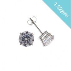 9ct White Gold 6mm White Cubic Zirconia Stud Earrings 1.32gms