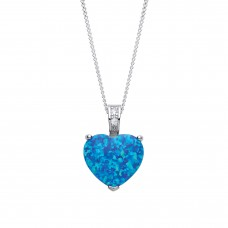 "Silver Blue Synthetic Opal Heart Pendant and 16"" Adjustable Curb Chain 3.13gms"
