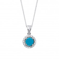 """Silver Turquoise and White Cubic Zirconia Pendant and 16"""" Adjustable Curb Chain"""