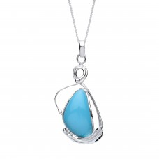 """Silver Turquoise Pendant and 18"""" Curb Chain"""