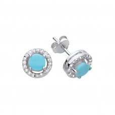 Silver Turquoise and White Cubic Zirconia Stud Earrings