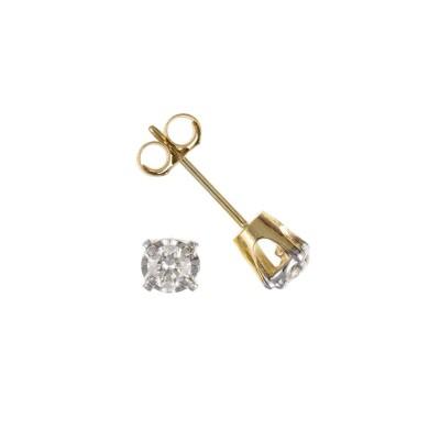 9ct Gold 0.10ct Diamond Stud Earrings