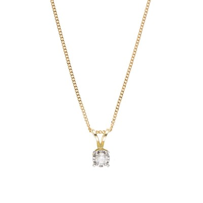 9ct Gold 0.15ct Diamond Pendant And 18'' Curb Chain
