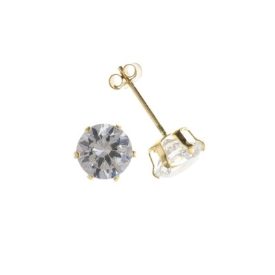 9ct Gold 3mm White Cubic Zirconia Stud Earrings