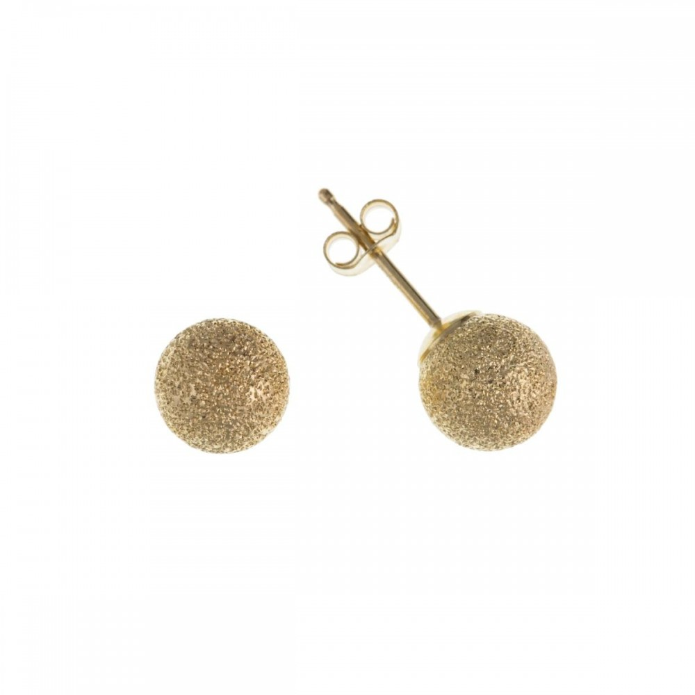 9ct gold 4mm frosted ball stud earrings